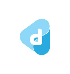 Letter d triangle drop water geometric logo vector