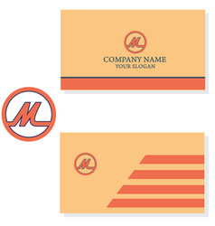 letter m logo with business card design vector image