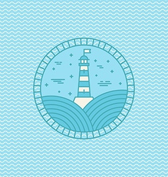 Lighthouse logo design template in trendy linear vector