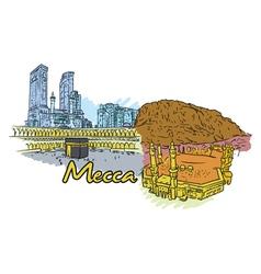 Mecca doodles vector