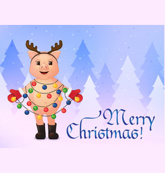 merry christmas greeting card cute smiling pig in vector image