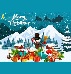 merry christmas greeting card with snowman in hat vector image