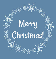 merry christmas winter snowflakes wreath vector image