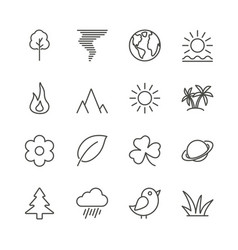 nature icon set line eco symbol collection vector image