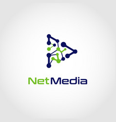 net media network play button logo design symbol vector image