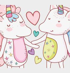Nice unicorn couple animal with hearts vector