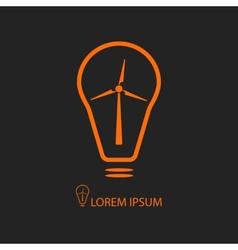 Orange bulb with wind turbine on black vector image