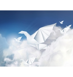 Paper origami doves in the clouds vector