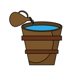 Pot wooden water miracle vector