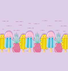 Punchy pastel popsicle fruits vector