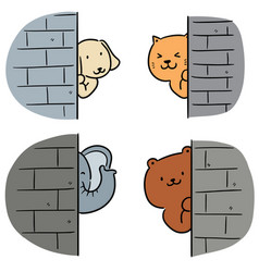 Set animal hiding behind wall vector