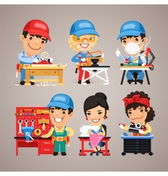 Set of Cartoon Workers at their Work Desks vector