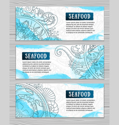 Set of seafood doodle style banners vector