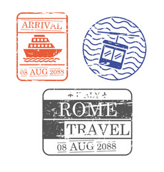 ship and cableway travel stamps of rome in vector image