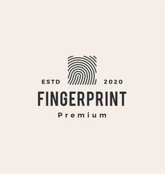 square finger print hipster vintage logo icon vector image