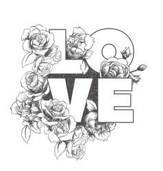 stylish inscription love in flowers vector image