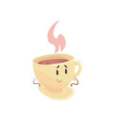 Tea cup cartoon character element for menu of vector