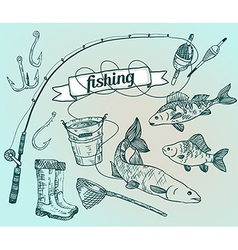 The drawn set fishing rod salmon perch bucket fish vector