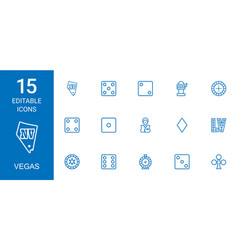 vegas icons vector image