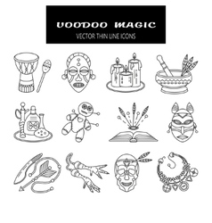 Voodoo African and American magic line vector