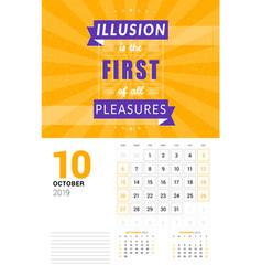 Wall calendar template for october 2019 design vector