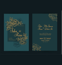 wedding invitation card set with peony flowers and vector image