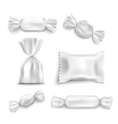 white candy wrapper mockup set isolated on white vector image
