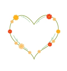 Yellow and Orange Cosmos Flowers in Heart Shape vector