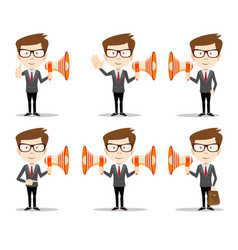 young businessman with a megaphone set vector image