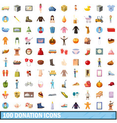 100 donation icons set cartoon style vector
