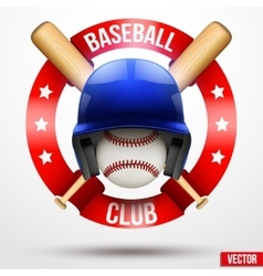 Baseball ball and helmet with ribbons vector image
