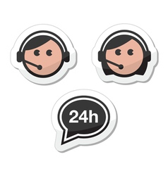 Customer service icons set labels - call center vector image vector image
