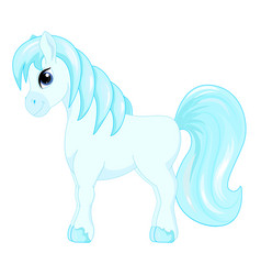 cute cartoon little blue horse blue hair decorate vector image