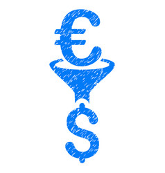 Euro dollar conversion filter grunge icon vector