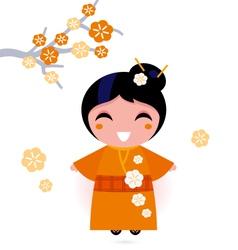 geisha woman vector image