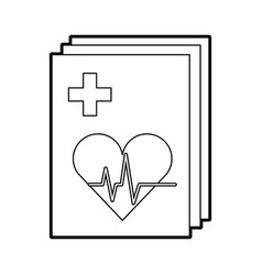 Medical order with cardiology test document icon vector