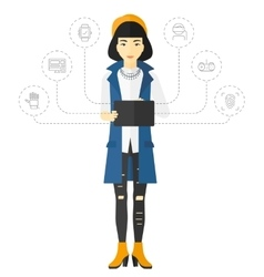 Woman holding tablet computer vector image