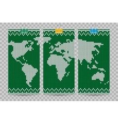 World map business cards set green knitting vector