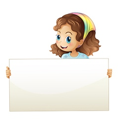 A girl holding a banner vector image