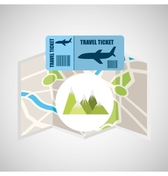 airline ticket map travel mountains landscape vector image