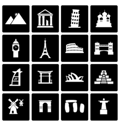 Black landmarks icon set vector