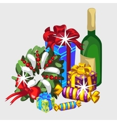 Christmas set wreath gifts and champagne vector image
