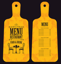 restaurant menu in form of wooden cutting board vector image vector image