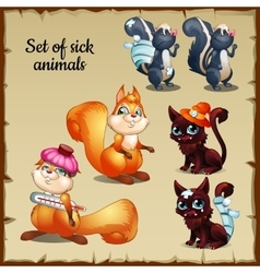 Three sick and healthy animals complaints vector image