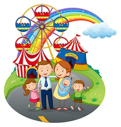 A happy family going to the amusement park vector