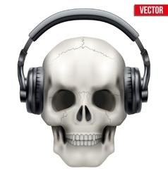 Human Skull with headphones vector image