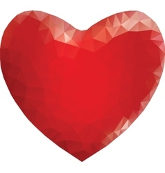 Red heart in low poly style vector image