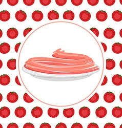 Red Tomato spaghetti against backdrop of a tomato vector image vector image