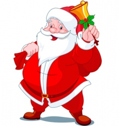 Santa with bell vector image vector image