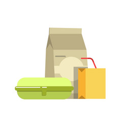 school lunch in paper and cardboard containers vector image